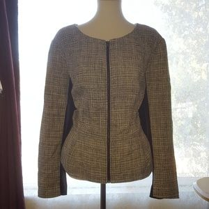 Elle Tweed Peplum Full Zip Career Blazer Size 2X